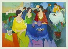 """Happy Mardi Gras! #TarkayTuesday  I think someone forgot to tell the woman in red that she was supposed to wear purple!   """"Tea at the Club"""" (2003), Itzchak Tarkay http://www.parkwestgallery.com/artwork-detail?ArtID=232139"""