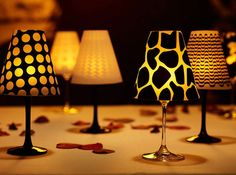 Upcycled Wine Glass Lamps