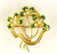 Antique Art Nouveau tested 14k Gold Enamel Seed Pearl Diamond Brooch Pendant