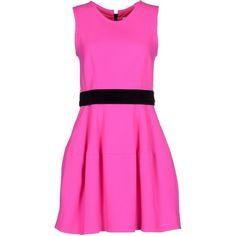P.a.r.o.s.h. Short Dress ($405) ❤ liked on Polyvore featuring dresses, fuchsia, wool mini dress, short dresses, sleeveless dress, fuschia pink dress and stretchy dresses