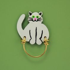 Handmade Fat Cat Magnetic Eyeglass Holder by LauraWilsonGallery