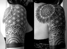 flower of life sacred geometry pattern tattoo