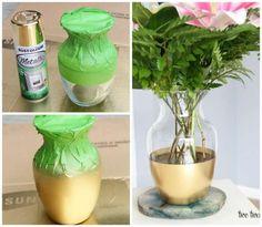 Une décoration chic pour ce vase en verre. 14 Idées de décorations stylées avec de la peinture en bombe