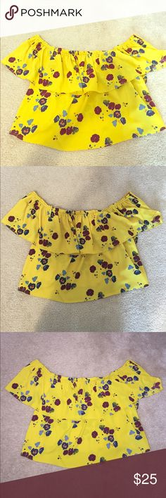Zara off the shoulder floral blouse NWT! Zara off the shoulder floral blouse! This beautiful yellow color is stunning! Perfect top for this spring and summer! Size medium! Zara Tops Blouses