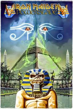 Iron Maiden Album Covers, Iron Maiden Albums, Heavy Metal, Rock And Roll Bands, Rock N Roll, Hard Rock, Iron Maiden Mascot, Iron Maiden Powerslave, Iron Maiden Posters