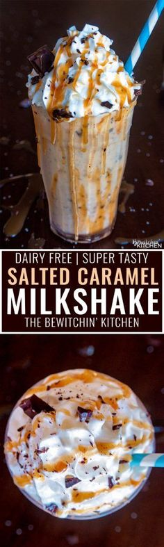 Dairy Free Chocolate Salted #Caramel Milkshake. This dairy free #milkshake uses cashew milk ice cream and coconut milk. Top with coconut whipped cream, caramel sauce and shaved dark #chocolate. Super #yummy #dessert drink!
