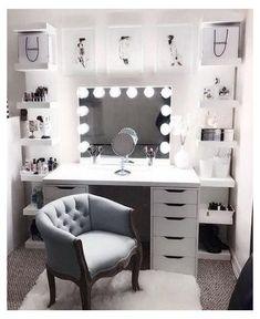 Beauty Room Decor, Makeup Room Decor, Makeup Rooms, Bedroom Decor For Teen Girls, Room Ideas Bedroom, Diy Bedroom, Ikea Room Ideas, Bedroom Colors, Bedroom Furniture