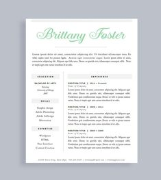 Professional Resume Template And Cover Letter For Word And Pages | One Page  | Instant Download | Creative Resume | CV | Words, First Page And Resume