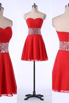 Cute Red Short Chiffon Prom Dress with Beadings, Red Homecoming Dresses, Party Dresses, Short Prom Dresses