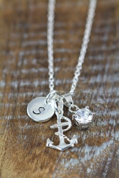 Personalized Long #Anchor #Necklace 925 Sterling Silver $19 - Use coupon code PIN10 for 10% off