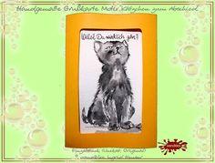 Kätzchen - Einzelstück Grußkarte handgemalt Abschiedskarte  - ein Designerstück von wandklex bei DaWandaPostkarte mal anders;  handgemalte Karten - geht übrigens auch nach Ihrem Foto :-) Alles zu haben im kleinen Klexshop auf DaWanda unter http://de.dawanda.com/shop/wandklex (einzeln handgemalte Karten, auch mit Valentinstagsgruß, Spruch, Blümchen, Herzen, Weihnachtsmützen ;-) )  Jede Karte ein Unikat, alle Tierrassen und auch Personen möglich, auch Kleinserien.