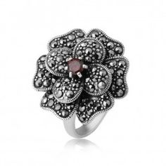 Marcasite And Red CZ Inlaid Flower Style 925 Sterling Silver Ring - USD $89.95