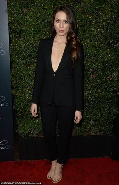 'Ready for the wrap party!'Troian Bellisario - who plays Spencer Hastings - wore a tailored black suit with a plunging neckline. Hairstyle - side braid