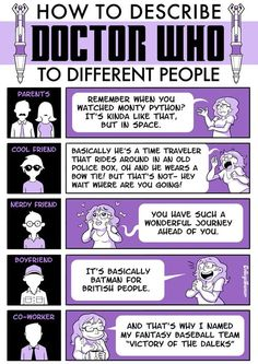 How to describe Doctor Who to different people