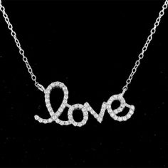 "Sterling Silver .925 Valentines Love Necklace with Cubic Zirconia 14"" - 16"" @ $14.99"