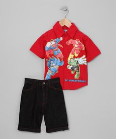 Take a look at this Red 'Superfriends' Button-Up & Shorts - Infant, Toddler & Boys by Blow-Out on #zulily today!