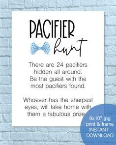 Printable Pacifier Hunt Baby Shower Game Sign - Bow Tie, Little Man Theme - - Print It Baby boy Fun Baby Shower Games, Boy Baby Shower Themes, Baby Shower Printables, Babyshower Game Ideas, Boy Baby Showers, Baby Shower Ideas For Boys Decorations, Baby Shower For Boys, Little Man Shower, Baby Shower Checklist