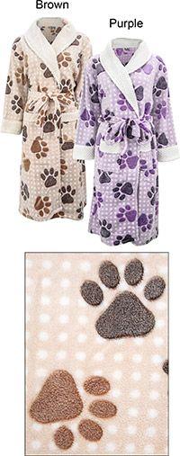 SuperCozy™ Paw Print Bathrobe and purchase benefits animal rescue via The Animal Rescue Site