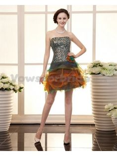 Organza Strapless Short A-Line Cocktail Dress with Flower and Sequins