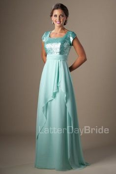 Modest Prom Dress | LatterDayBride & Prom | SLC | Utah | Worldwide Shipping | 2017 Styles | Amelia | The stunning color and style make this modest prom gown a masterpiece. The deep sequined bodice, flattering waistband, corset back and open flowy skirt combine to create a one-of-a-kind gown. Dress available in Mint, Pink, Purple or Black *Pictured in Mint