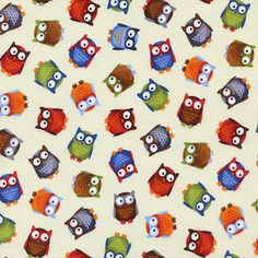 Timeless Treasures House Designer - Bright Eyed and Bushy Tailed - Tossed Owls in Cream