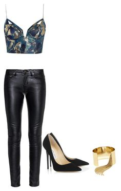 """nigth out"" by nury-toribio ❤ liked on Polyvore featuring Zimmermann, Yves Saint Laurent, Jimmy Choo and BaubleBar"