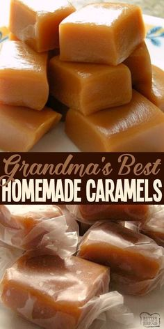 These Homemade Caramels Will Absolutely Melt In Your Mouth Incredible From Scratch Recipe For Homemade Caramel Made With Heavy Cream And Butter. From Butter With A Side Of Bread Homemade Caramel Recipes, Easy Candy Recipes, Homemade Candies, Homemade Recipe, Dessert Recipes, Dessert Ideas, Chewy Caramels Recipe, Homemade Caramels, Carmel Recipe