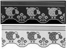 Knitting crochet beads etc Filet Crochet, Crochet Motifs, Crochet Borders, Crochet Chart, Thread Crochet, Crochet Doilies, Knit Crochet, Cross Stitch Borders, Cross Stitch Animals