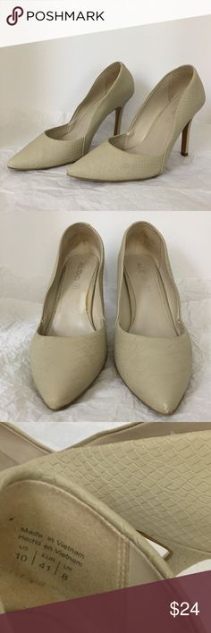 ALDO Stiletto high heels Pre owned ALDO high heels Stiletto snakeskin style in excellent condition  size 10 as seen in the picture. Cleaned and sanitized. Smoke and pet free house. Aldo Shoes Heels