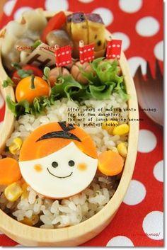 Looks like my Dressy Bessy Doll. Bento Ideas, Bento Recipes, Lunch Box Recipes, Baby Food Recipes, Great Recipes, Cute Bento Boxes, Bento Box Lunch, Japanese Lunch Box, Japanese Food