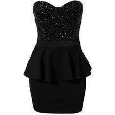 Te Amo Embellished Peplum Dress ($58) ❤ liked on Polyvore featuring dresses, vestidos, short dresses, black dresses, party dresses, black, womens-fashion, embellished dress, flounce dress and ruffle dress