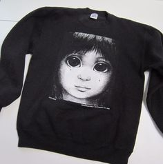 VTG 90's MARGARET KEANE BIG EYES SAD EYE Sweatshirt 34-36 KEANE EYES GALLERY SF #JERZEES #GRAPHICSWEATSHIRT