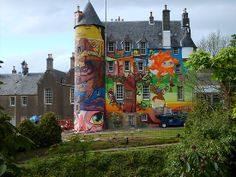 Graffiti on castle in Largs, Scotland, by a group of Brazilian artists