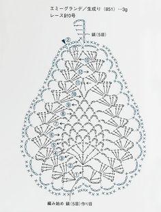 Japanese crochet pattern of pear using pineapple stitch