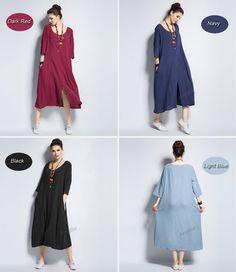 Any size front slit soft linen & cotton dress plus size от AnySize