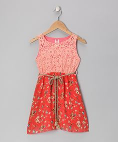 Coral Lace Flower Chiffon Dress - Girls