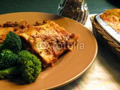 Lasagne Served with Broccoli