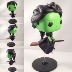 Flying Elphaba Custom Funko Pop Custom Funko Pop by MjolnirStudio Wicked Musical, Wicked Witch, Broadway Wicked, Pop Custom, Custom Funko Pop, Funko Pop Vinyl, Funk Pop, Funko Pop Dolls, Funko Toys