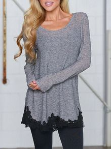 Grey Long Sleeve Floral Crochet T-Shirt Camisetas 1de889bea8d