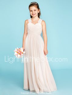 7278a49188   59.99  A-Line   Princess Strap Floor Length Chiffon   Lace Junior  Bridesmaid Dress with Ruched   Side-Draped by LAN TING BRIDE®   Wedding  Party