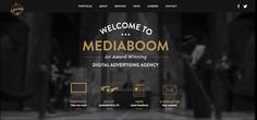 MediaBoom / black and white background with gold accented logos.