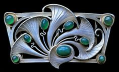 Art Nouveau buckle, silver, chalcedony, Germany c1900