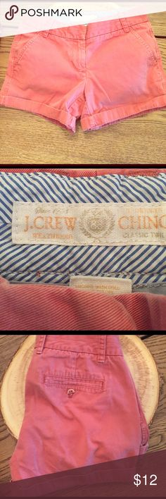 J. Crew chino shorts 💯 cotton size 0 J. Crew shorts. Good condition with the exception of the back button is broken off. Can be left undone and will not be noticeable. About a 4 inch inseam J. Crew Shorts
