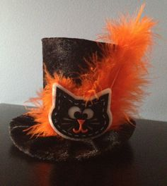 Black Cat Mini Top Hat Perfect for Halloween by daisyleedesign, $25.95