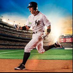 baseball action shot w/stadium background.