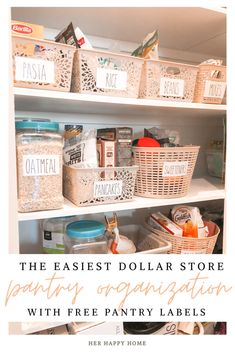 Are you looking for the easiest, most affordable way to organize your pantry?  I'll give you all the details to how I organized our entire pantry using dollar store baskets and my FREE Rae Dunn inspired printable pantry labels.// pantry organization ideas, small, dollar tree, shelves, baskets #pantryorganization #pantrylabels