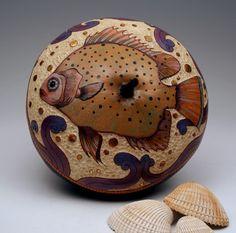 The Purple Sea,  by gourd artist, Carla Bratt. Gourd art inspired by the denizens of the sea.