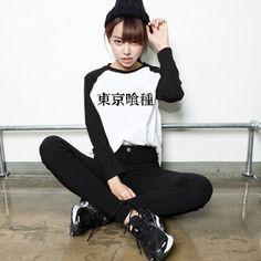 Tokyo Japan Ghoul Japanese Characters T-Shirt Long Sleeve