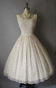 vintage 50's floral chiffon wedding dress $168