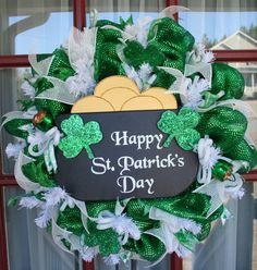 Happy St. Patrick's Day Emerald Green/White Deco by Crazyboutdeco